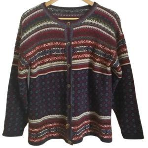 VINTAGE Knitted Fair Isles Oversized Wool Cardigan